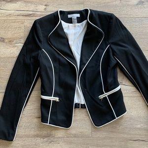 H&M Black Crop Blazer with White Seams/Lining Sz 6